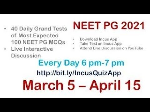6:00 pm 40 Daily NEET PG Mock test of 100 Most Expected NEET PG MCQs & Live Discussion Mar 5- Apr 15