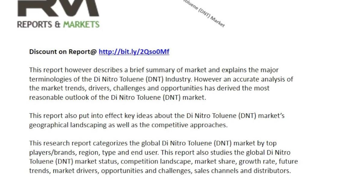 Di Nitro Toluene DNT Market Key Players- BASF, Spectrum Chemical, Sigma Aldrich,Panoli Intermediates