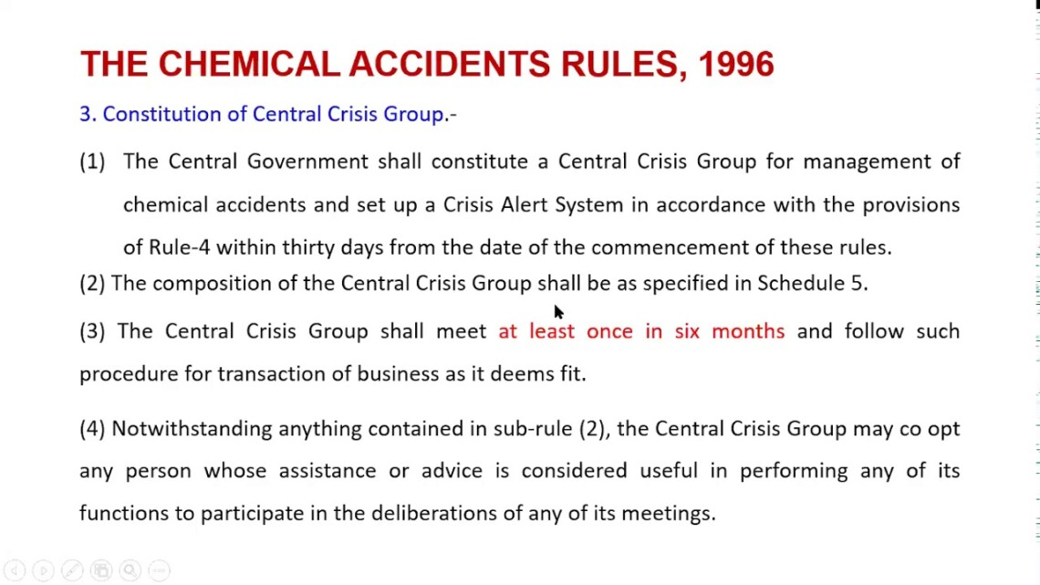 Chemical Accidents Rule, 1996