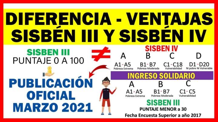 Diferencia-Ventajas Sisbén III y Sisbén IV – Publicación Oficial Marzo 2021 | Ingreso Solidario