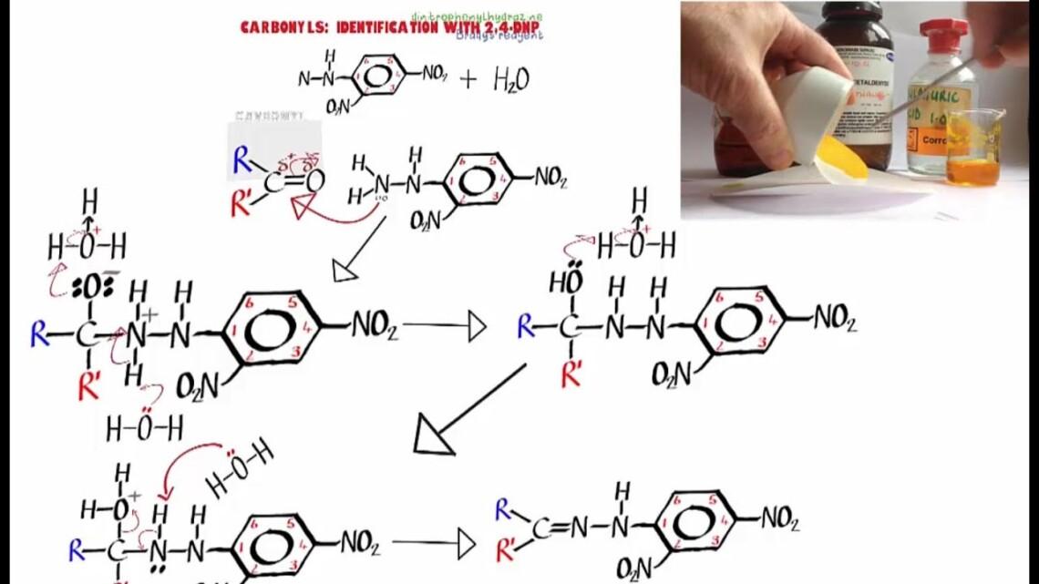 Carbonyls 5. Use of 2,4-DNP (Brady's reagent).